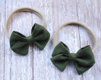 Fabric headband, Fabric hair bow, baby fabric bow, hunter green hair bow, hunter green fabric bow