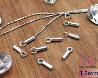 50 pcs Sterling Silver 925 Crimp End Cap, with inside diameter 1.2mm - Chain / Cord Ends Caps - Beading Chain End Cap