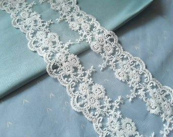 Wide vintage white lace ribbon - shabby chic lace ribbon - vintage supply - Haberdasheries - lace crochet ribbon -  bridal ribbon