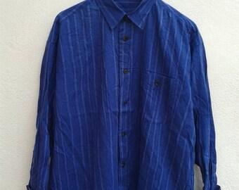ON SALE 4 Vintage 90s Issey Miyake Avant Garde Stripes Psychedelic Rock Star Men's Casual Shirt