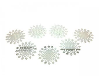 10 prints Sun platinum silver charms 41x40mm