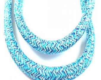 Rope braided white turquoise 10mm, by the yard