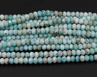 """Micro Faceted A Grade Natural Blue Larimar 7mm Faceted Rondell Beads 16"""" Strand"""