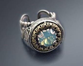 Circle Jewel Ring, Crystal Ring, Vintage Crystal Ring, Silver Ring, Swarovski Ring, Antique Style Ring, Adjustable Rings, Gold Ring R555
