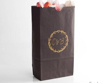 BUDDING WREATH w/ Initials Goodie Bags - Custom Party Favors, Wedding Gift Bags, Wedding Goodie Bags, Popcorn Bag, Wedding Favor, Decoration