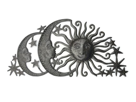 "Sun Moons and Stars Celestial Arch, Haiti Metal Art, Fair Trade, Recycled Metal Wall Art, Steel wall Sculpture, 34"" x 17"""