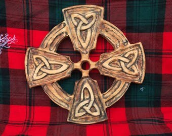 Wooden Celtic Cross with Trinity Knots, Hand Carved, Carved Celtic Cross, Wood Celtic Knot, Wooden Celtic Knot Cross, Carved Cross