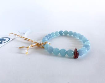 Blue chalcedony and goldstone beaded bracelet