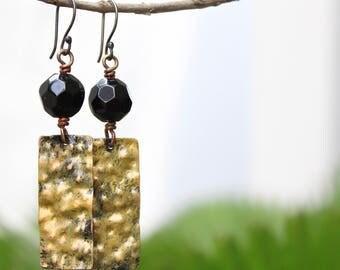 Natural stone earrings, Copper earrings, Copper jewelry, Patina earrings, Gold patina, Boho earrings, Bohemian jewelry, Silver ear wire Onyx