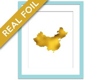 China Map - Gold Foil Print - Gold China Print - Gold Foil Map - Geography Travel Poster - Chinese Art - China Art Print - Asia Country Map