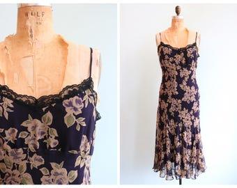Vintage 1990's Dark Floral Silk Dress | Size Medium