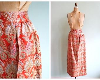 Vintage 1970's Gold and Orange Brocade Skirt | Size Medium