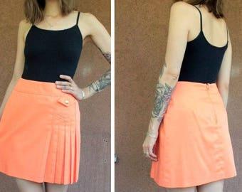 1970's Original Diolen Orange Mini Skirt - 70's Orange Mini Pleated Skirt - Size S