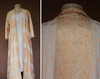 Summer Sale 1940's Evening Light Peach Coat – 40's Long Night Coat