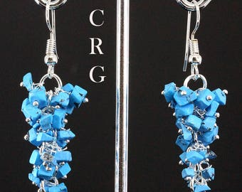 Silver Plated Turquoise Grape Cluster Earrings (GC41DG)