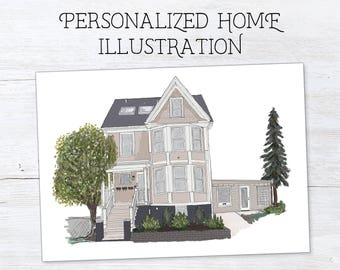 Custom House Drawing - House Portrait - Housewarming Gift - First Home Drawing - House Painting - Moving Away Gift - Personalized Print