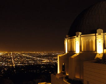 8x10, Hollywood Nights, Griffith Observatory, Los Angeles at Night, Los Angeles Photography, Los Angeles Art, Living Room Decor, Movie Room