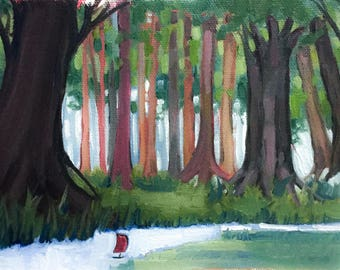Original Oil Painting, Boat, River, Trees, Forest, Fantasy, Small, Small Landscape, Small Oil, Sale, Child, Nursery, Gift