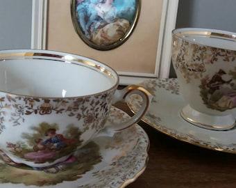 Bavaria Tea cups, tea cups gold, kitsch tea cups, Victorian wall decoration, bohemian teacups, Christmas gift, shabby chic, high tea