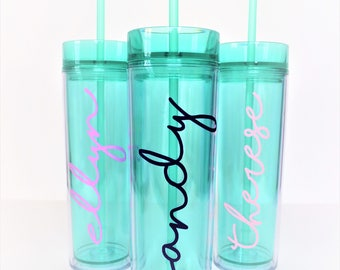 Mint Skinny Tumbler // Bridesmaid Tumbler // Girls Weekend Tumbler // Beach Cup // Pool Cup // Bachelorette Party // Personalized Tumbler