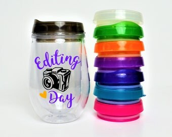 Editing Day Wine Tumbler // Editing Day Travel Cup // Photographer Gift // Gift for Photographer // 10oz Double Acrylic Tumbler with Lid