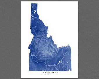 Idaho Map Print, Idaho State Art, USA Artwork