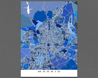 Madrid Map, Madrid Spain Art Print, Madrid City Map, Travel Print