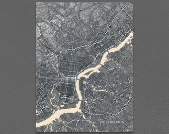 Philadelphia Map Print, Black and White, Vintage Inspired, Pennsylvania