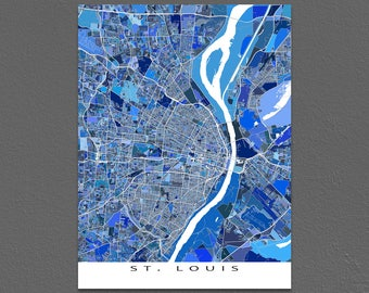 St Louis Map Print, St Louis Missouri, City Art Map Prints