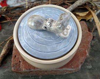 Vintage Quon-Quon Hippopotamus Swimming Ceramic Trinket Box made in Japan