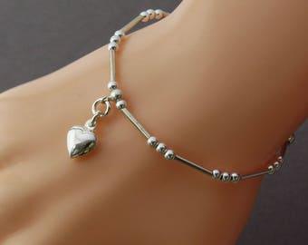 Sterling Silver Beaded Tube Heart Charm Bracelet, Silver Noodle Beaded Bracelet, Personalized Silver Initial Charm Bracelet, Gift for Wife