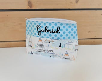 Toiletry teen / woman CUSTOM tipi and indian cotton doubled customizable