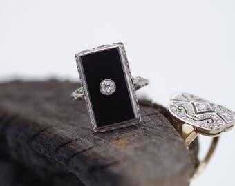 Antique Art Deco c.1920-30s 14K White Gold Onyx & Diamond Ring