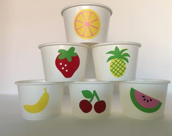 Fruit Party Snack Cups, Farmers Market Party, Strawberry Party Cups, Tutti Frutti Party Cups,