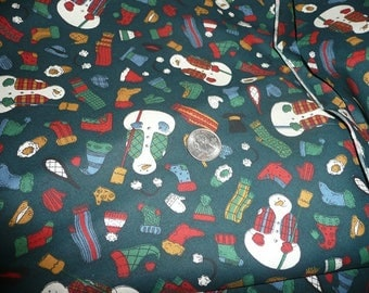 5 Yards Snowman Print Cotton Fabric