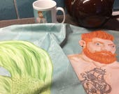 Hipster Merman Cotton Tea Towel