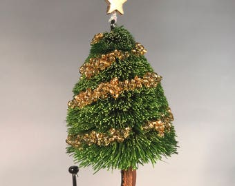 Hand Tied Spun Deer Hair Fly Fishing Fly Christmas Tree Ornament on Hook - 3 inches tall - Pine Green Tree (gold colored ornaments)