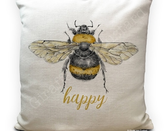 Bee Cushion Pillow Cover - Bee Happy - Be Happy - Honey Bumble Bee vintage Illustration artwork - Home Decor 40cm 16 inch