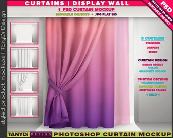 Long Curtain Drapery Sheer Display | Photoshop Mockup LC-M2-1 | Movable curtain on display wall | Smart Object Custom colors