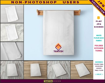 Kitchen Towel Flour Sack Fabric | Folded towel | Non-Photoshop | White Folded Towel on Wooden Bar Hanger | Wooden Table and Floor