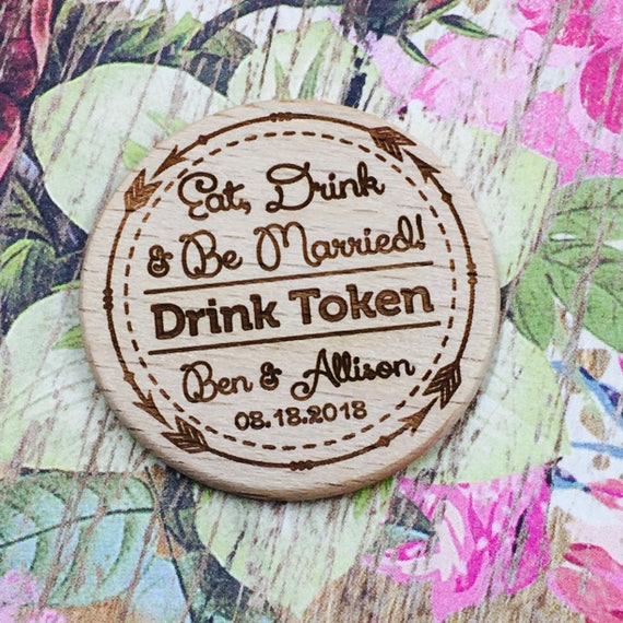 "Personalized Wooden Nickel Drink Tokens 1.5"" Reception or Party Semi Open Bar Drink Tokens Qty: 12 Tokens"