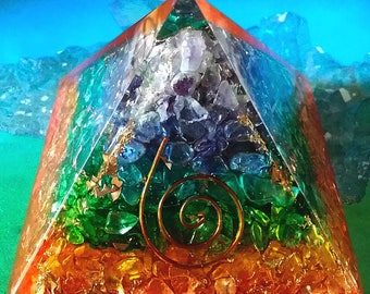 """4"""" ORGONE Seven Layer Chakra Crystal Energy GENERATOR Pyramid, Reiki,Orgonite, with Copper Coil, Sacred Geometry"""