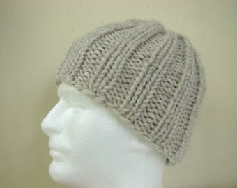 Hand knit mens hat ecru adult medium, warm comfortable winter hat beige knit in round, alpaca acrylic cream men hat, women chunky knit hat