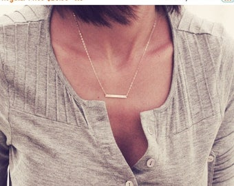 ON SALE Skinny Bar Necklace / Straight Bar Necklace / Dainty Layered Necklace / Custom Bar Necklace / Gold, Rose Gold or Silver