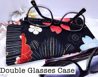 Oriental Floral Double Glasses Case, Black Double Pocket Sunglasses Pouch, 2 Pocket Eyeglasses Case, Eyeglasses Organizer