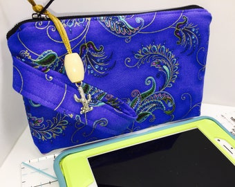 All Purpose Wristlet, Botanical Blue Phone Case, Women's Small Wallet, Heavily Padded, Coupon Organizer