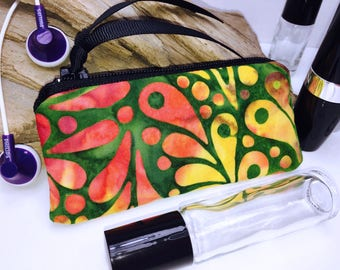 Vibrant Batik Essential Oil Pouch, Small Zipper Pouch, Lipstick Case, Essential Oil Bag, Lip Balm Case, USB Case, Doterra Oil Storage