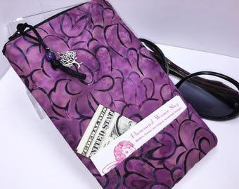 Extra WIDE Eyeglass Case, ROOMY Eyeglasses Case, Purple Zip Top Glasses Pouch, Sunglasses Pouch, Soft Glasses Case