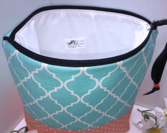 Teal Wet Bag, Large Project Bag, Quatrefoil, Cosmetics Case, Waterproof Bag, Tall Zipper Pouch