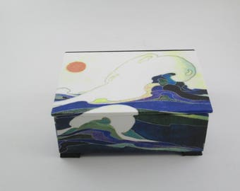 Tea chest, Art Nouveau, tea bag box, decorative box, table decor, blue, green. orange and white, made to order
